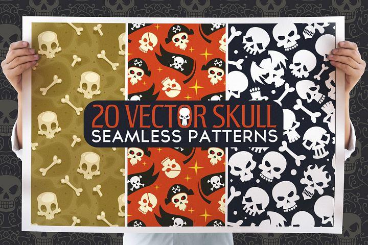 20 Skull Seamless Vector Patterns