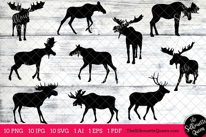 Moose Silhouette Clipart Clip Art(AI, EPS, SVGs, JPGs, PNGs, PDF), Moose  Clip Art Clipart Vectors - Commercial & Personal Use