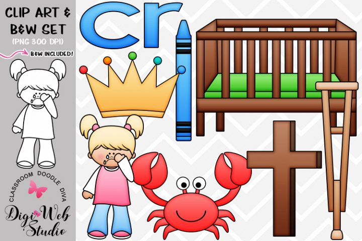 Clip Art / Illustrations - R Blends - cr Phonics