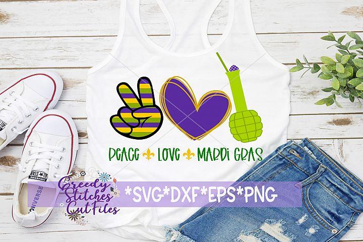 Mardi Gras |Peace Love Mardi Gras SVG DXF EPS PNG
