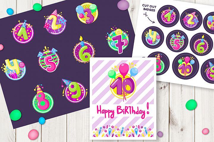 Happy birthday badges, stickers