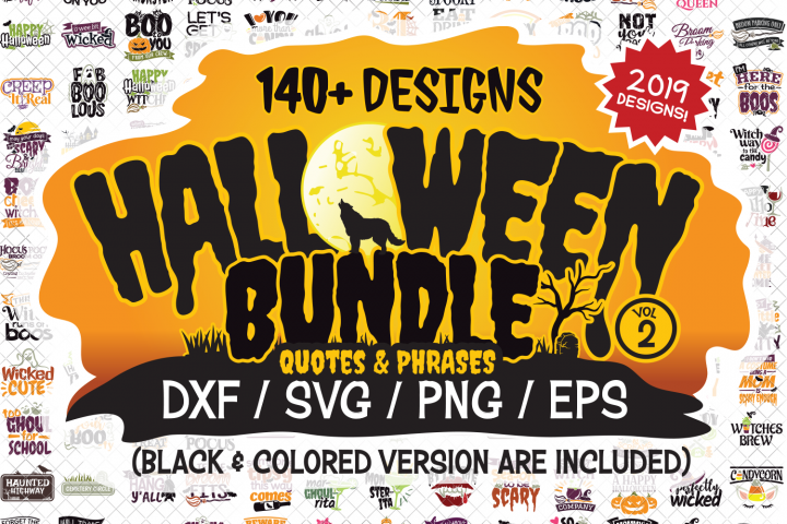 Halloween SVG Quotes & Phrases Bundle in SVG, DXF, PNG, EPS