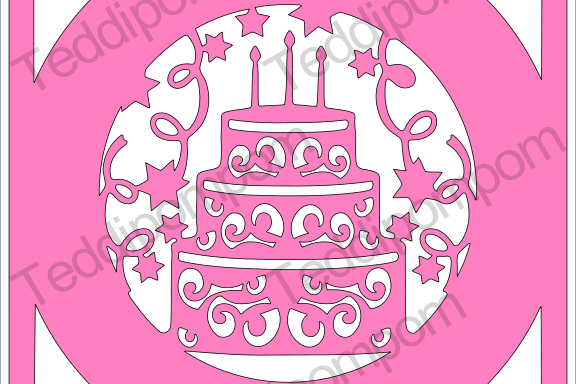 Happy Birthday Cake Frame SVG