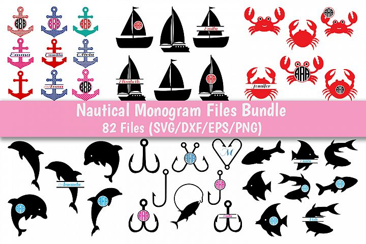 Nautical SVG Bundle, Nautical Monogram SVG Bundle.