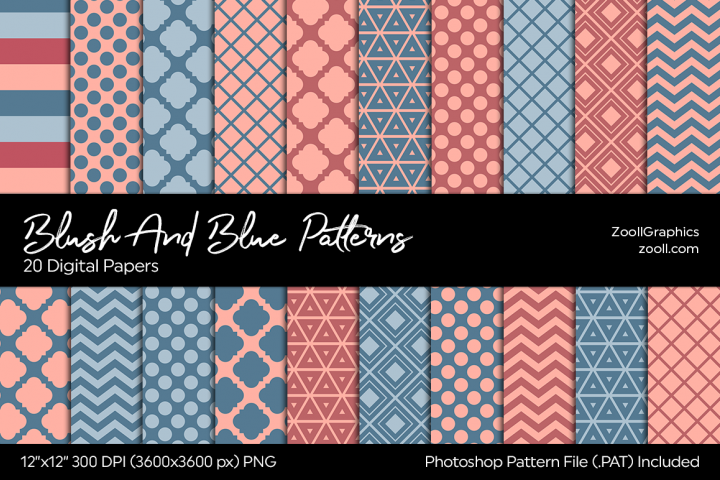 Blush And Blue Digital Papers