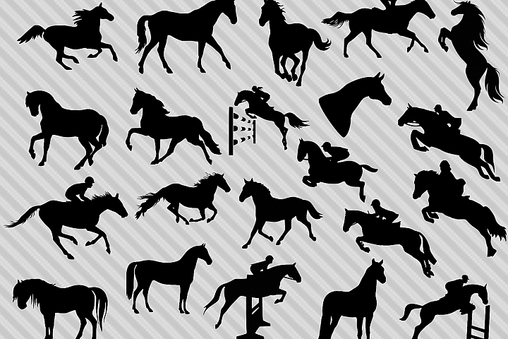 Horse svg bundle, horse silhouette svg, horse clipart, dxf, cut files