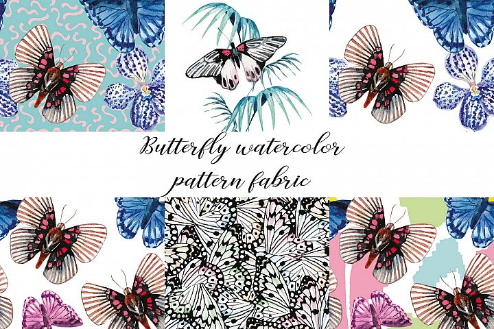 Butterfly watercolor hand drawn illustration digital paper.