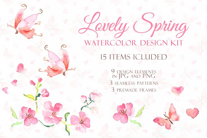 Handmade watercolor design kit
