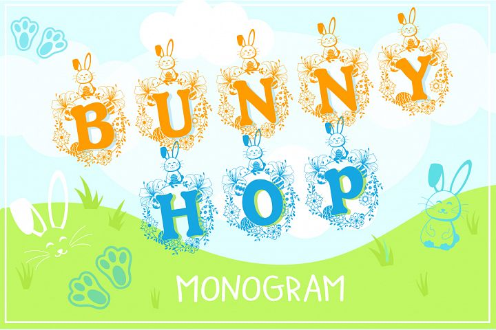 The Bunny Hop - Cute Easter Monogram Font