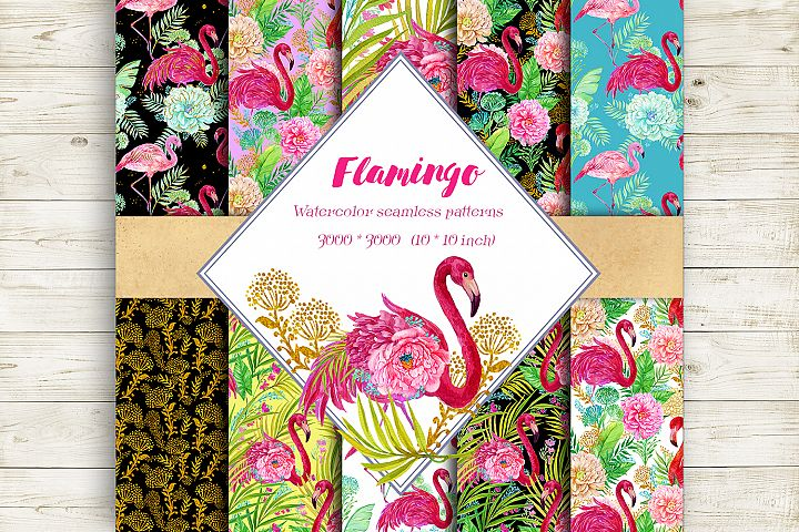 Flamingo.Seamless patterns,