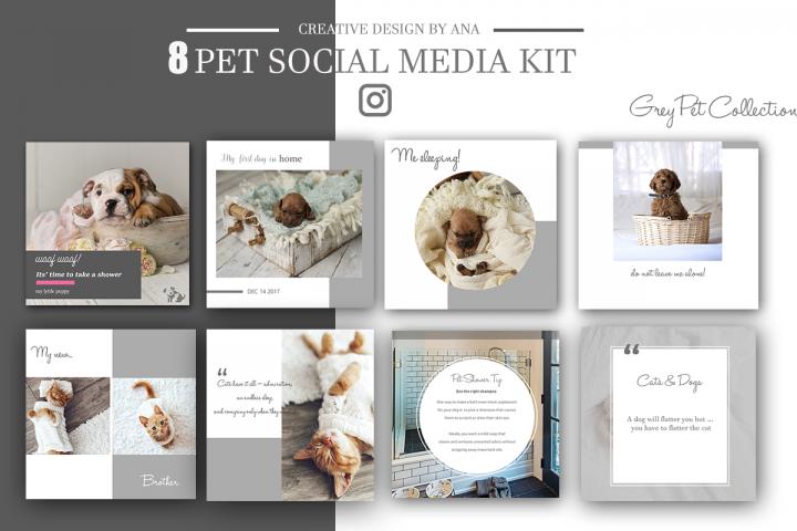 Pet Social Media Kit Template, Social Media Post Pack, 8 Set Templates Bundle for Instagram Pinterest Blog Facebook, Marketing Branding Kit.