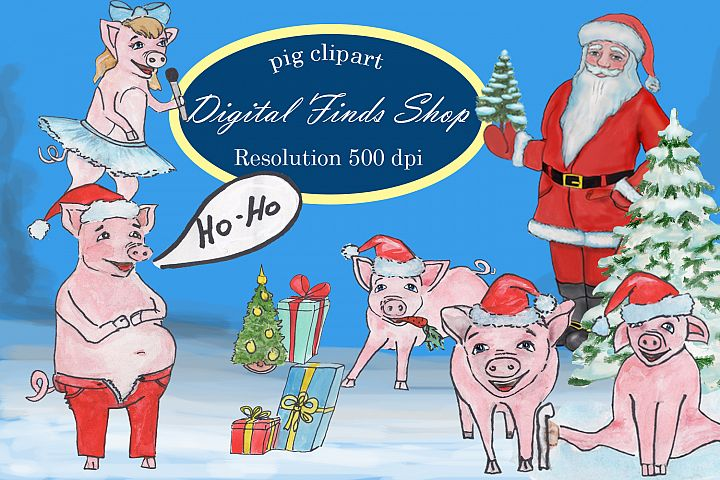 Christmas pig clipart, symbol 2019 pig clipart