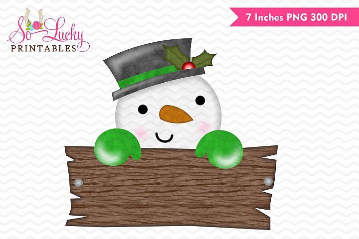 Snowman peeker Christmas printable sublimation design