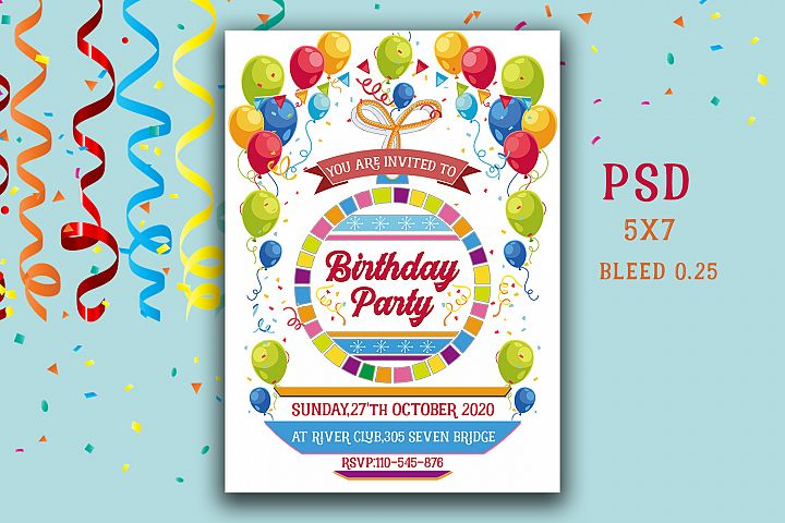 Colour full Birthday Invitation Card
