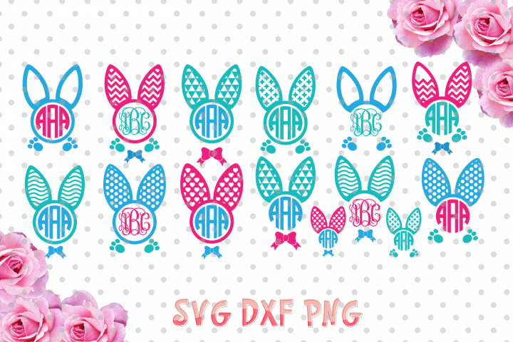 Easter bunny ears Monogram Frames Svg cutting file, bunny ears SVG, DXF, Cricut Design Space, Silhouette Studio,Digital Cut Files