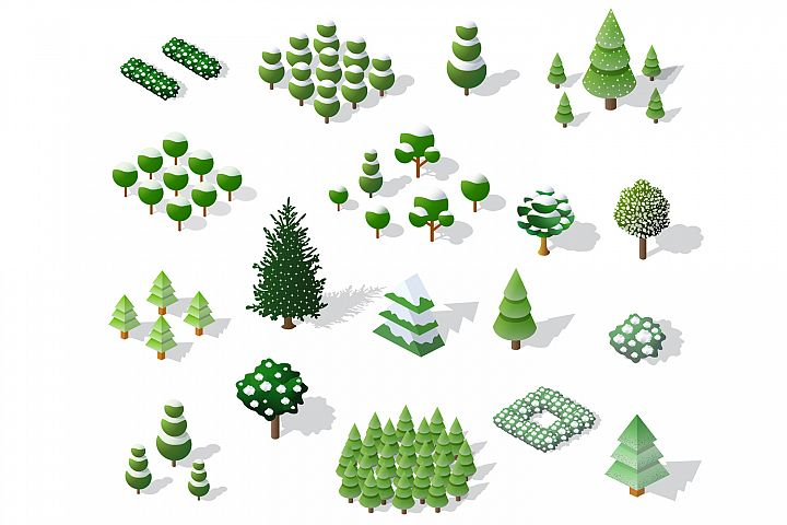 Set of Christmas winter trees