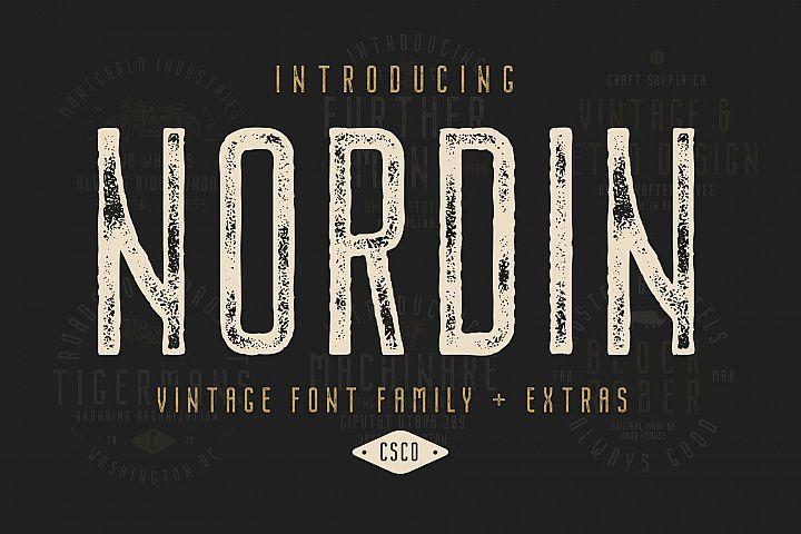 Nordin Vintage Font Family Bonus Badge Logo