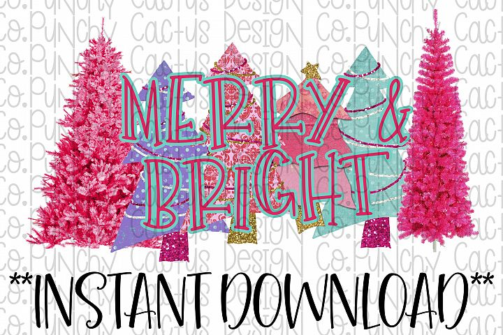 Merry and Bright Sublimation Download, Christmas