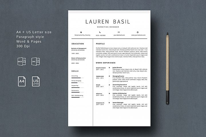 MS WORD Creative Resume Template CV Design