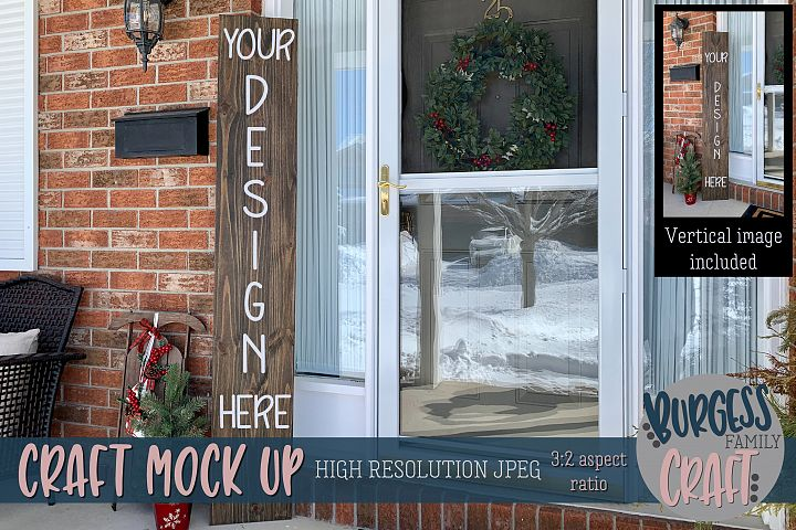 Tall brown Christmas porch sign Craft mock up |High Res JPEG