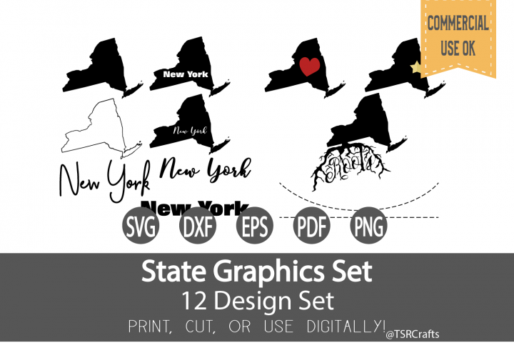 New York State Graphics Set - Clip Art and Digital Cut