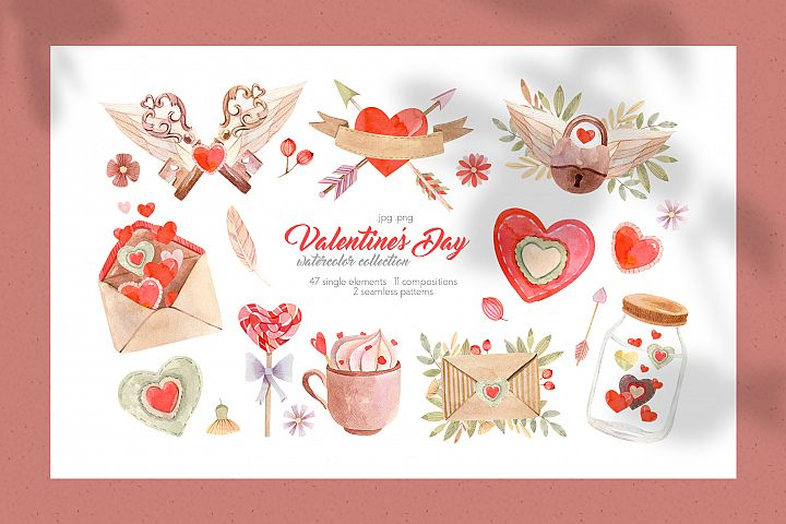Valentines Day Watercolor Collection