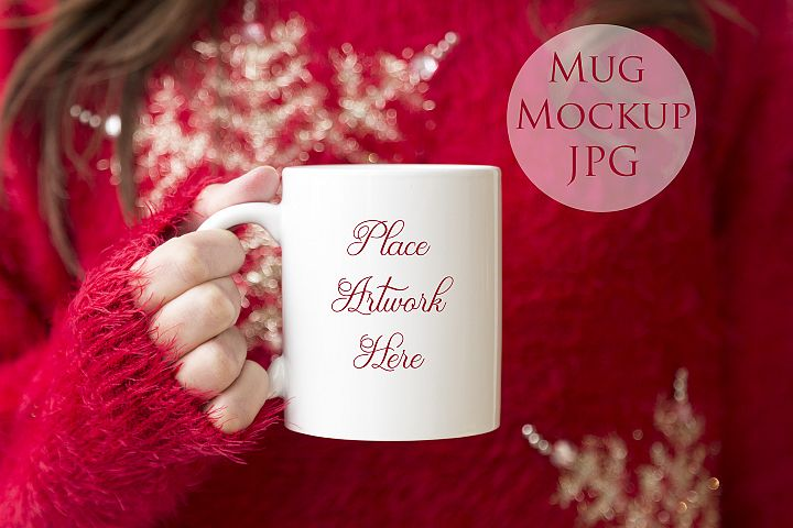 Woman holding a mug, Red christmas jumper