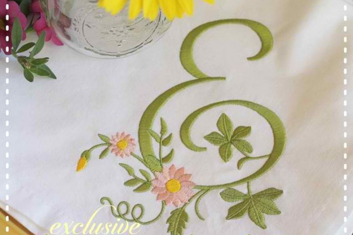 Blooming Floral Embroidery Font A-Z