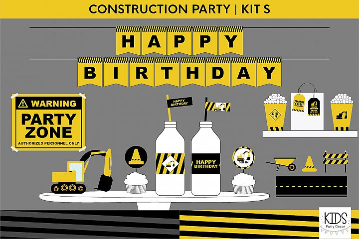 Construction birthday party printable decorations, party kit