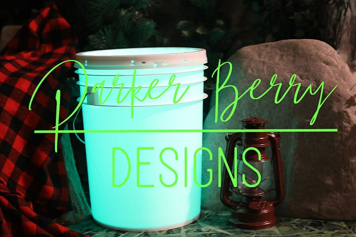 Light Glow teal blue Camping Bucket with lantern Mock up svg