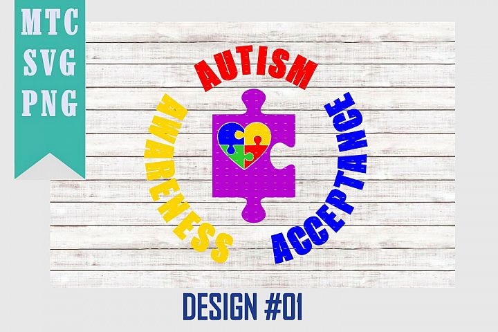 Autism Awareness Heart Puzzle Design #01 SVG Cut File
