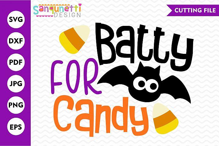 Batty for candy Halloween SVG, bat cutting file