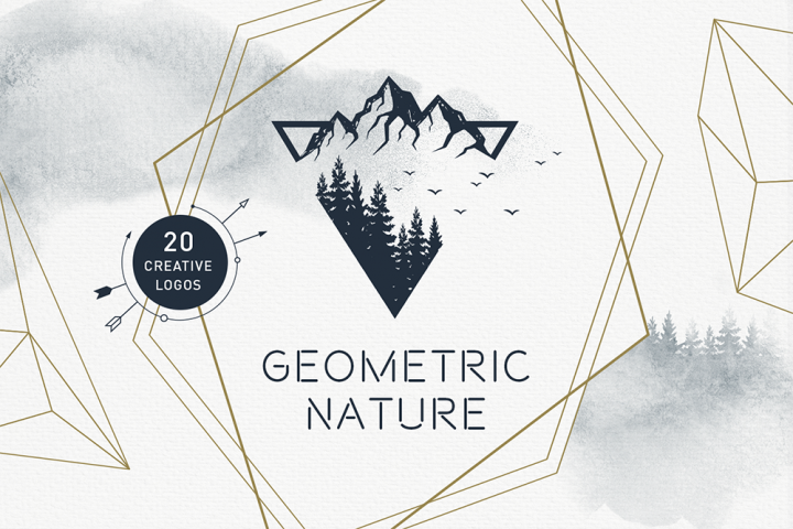 Geometric Nature. 20 Greative Logos in AI, EPS, PNG and SVG