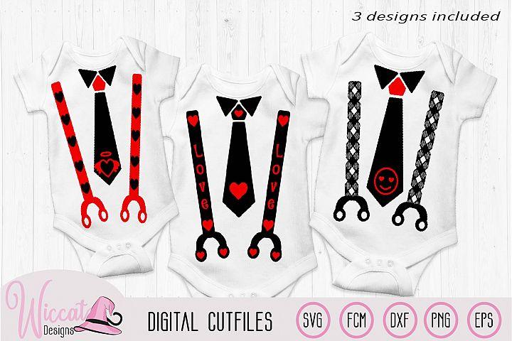Valentine Baby tie and suspender svg