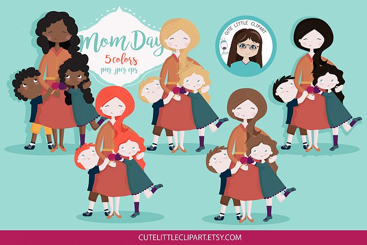 Mom and children clipart
