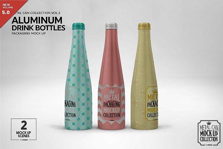 Aluminum Drink Bottles Packaging Mockup