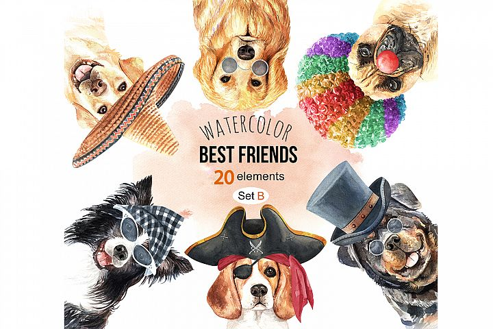 Dogs and accessories watercolor clipart, Pets clip arts SetB