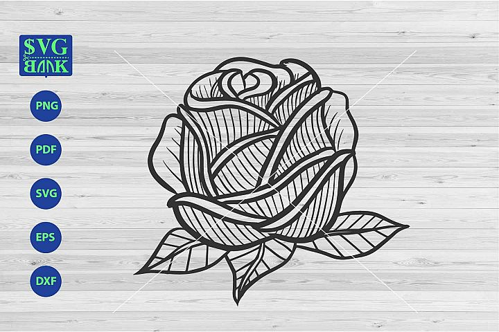 Big Rose Svg, single flower cut file, flower line art