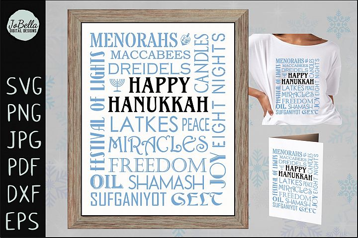 Subway Art Happy Hanukkah SVG, Printable and Sublimation PNG