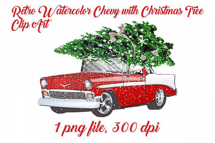 Retro Watercolor Car with Christmas Tree Clip Art
