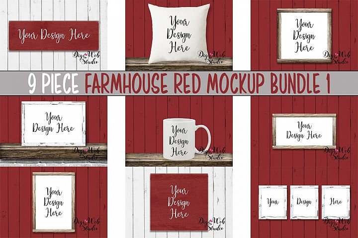 Mockup Bundle -Farmhouse Red Wood Signs, Pillow & Coffee Cup