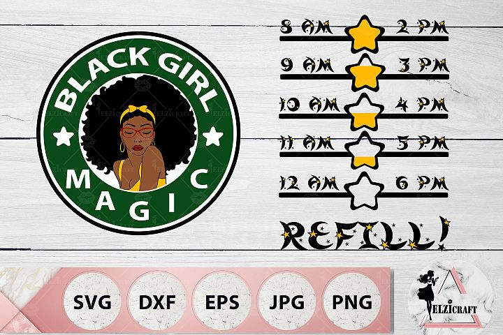 Water Bottle Tracker Black Girl Magic, Afro Woman SVG Files
