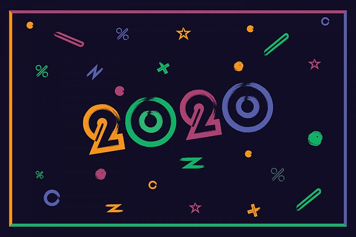 Happy New Year 2020 colorful text design.