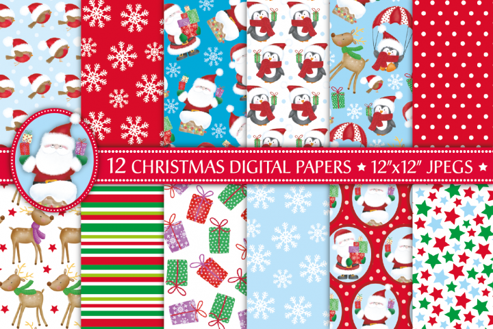 Christmas digital papers, Christmas patterns, Santa papers