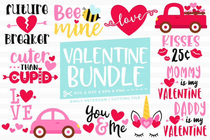 Valentines Day Bundle 12 Designs SVG DXF EPS PNG