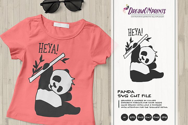 Heya! | Fun Panda Bear SVG | Funny Panda Illustration