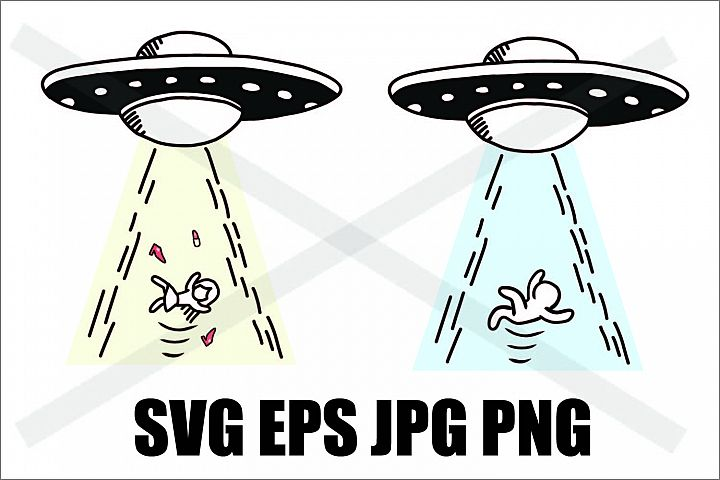 UFO Abduction a man and a woman - SVG EPS JPG