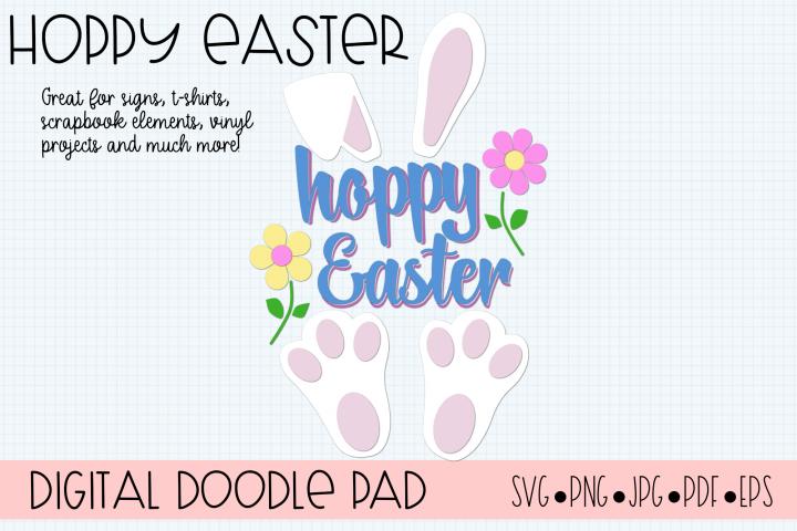 Hoppy Happy Easter SVG - Cricut Silhouette Cut Files