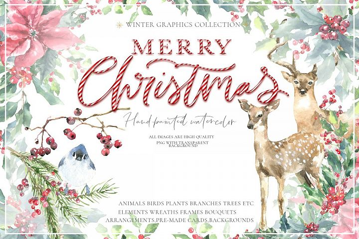 Christmas Watercolor Animals Vintage Woodland animal clipart