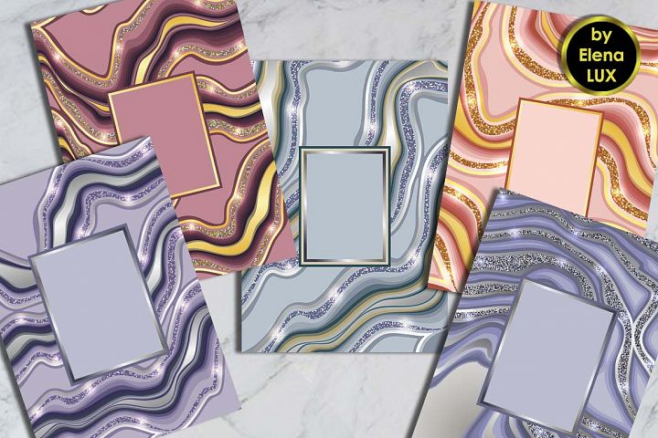5 Marbling A4 Template Set